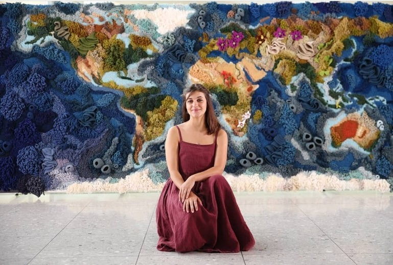 Portuguese textile artist Vanessa Barragão's HandWoven World Map Tapestry